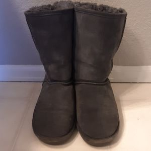Bearpaw Gray Stella Suede Knit Lining Boot